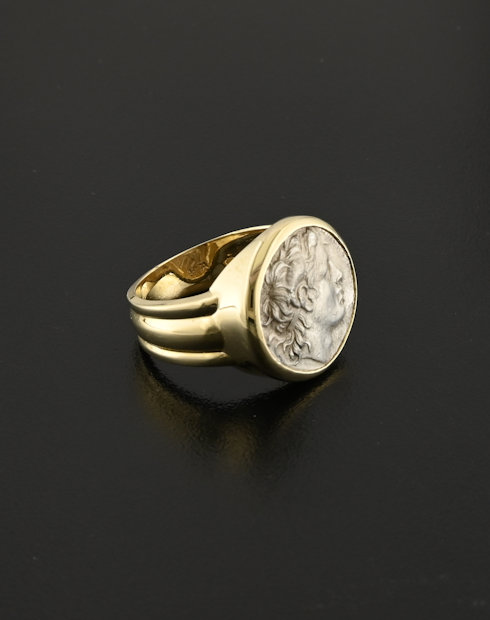 ancient greek drachm coin ring