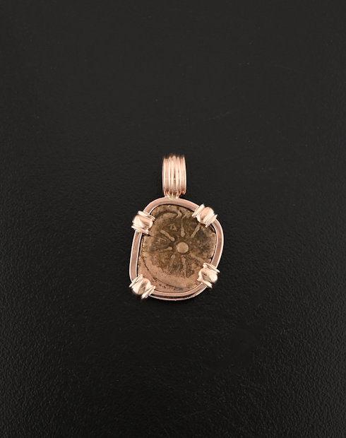 widows mite rose gold pendant