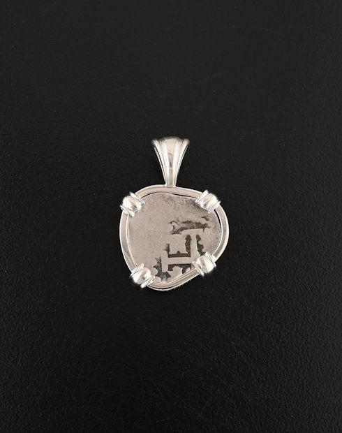 spanish half real cob coin pendant