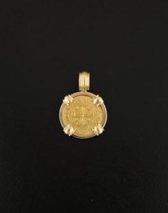 portuguese gold coin pendant