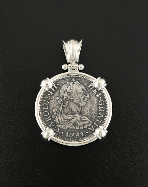 el cazador two reales coin pendant
