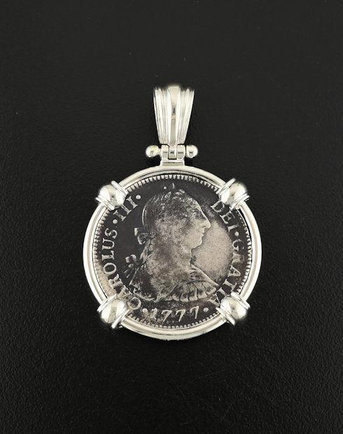el cazador two reales bust coin pendant