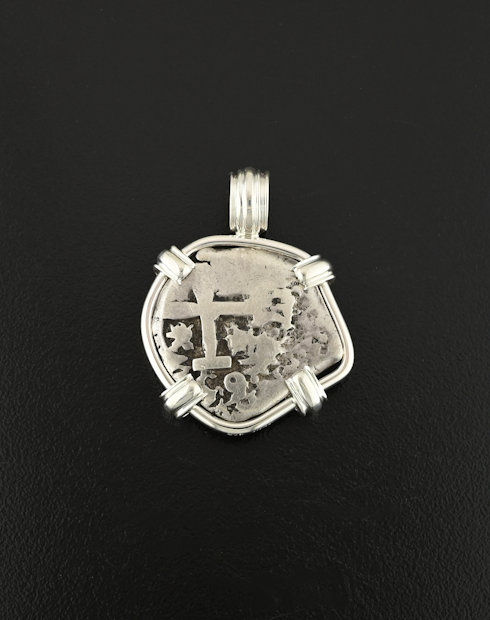 spanish wo reales coin pendant