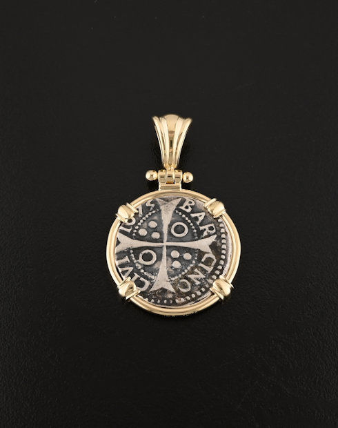 Spanish one croat coin pendant