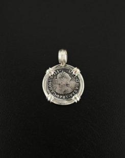 spanish half real coin pendant