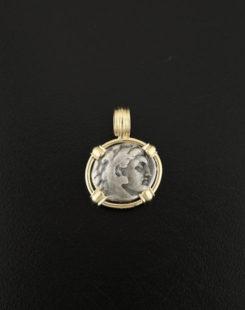 greek drachm coin pendant