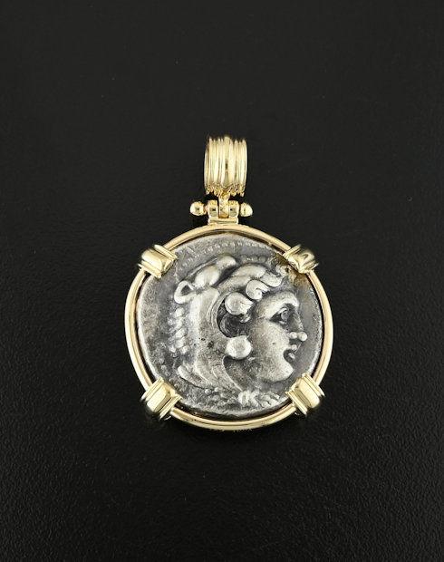 ancient greek tetradrachm coin pendant