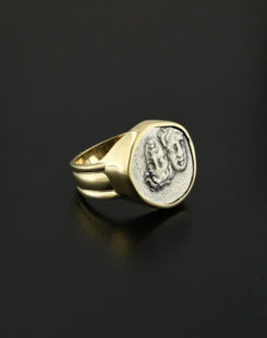 ancient greek quarter stater coin ring