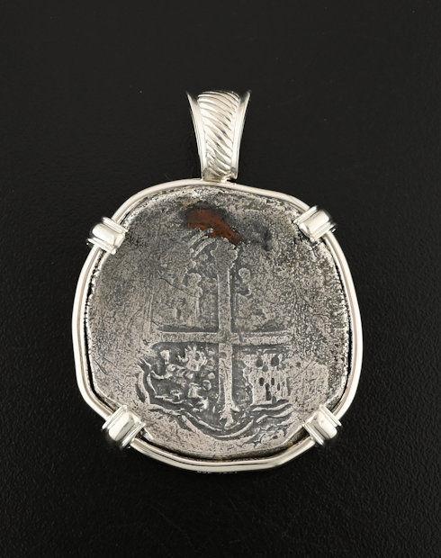 spice island wreck spanish coin pendant